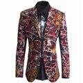 Lujo Blazer Suit Jacket Men nueva Unique Mens delgado impreso Blazers marca doble botones traje chaqueta para cantante Terno Masculino