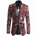 Luxury Blazer Suit Jacket Men New Unique Mens Slim Printed Blazers Brand Double Buttons Suit Jacket For Singer Terno Masculino