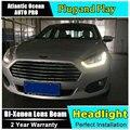 Estilo do carro faróis LED Head Lamp para Ford Fusion 2015 ESCORT levou farol drl sinal de volta drl H7 escondeu Lente Bi-Xenon baixo feixe