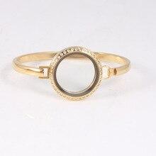 Gold Crystal Stainless Steel Floating Locket Bangles Round Screw Living Bracelets For Women