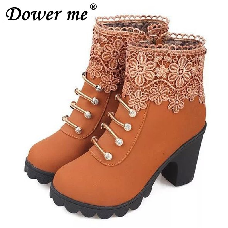 2017 Women Boots Fashion PU Leather Round Toe Ankle Boots Sexy Lace Ladies High Heels Platform Shoe Woman Elegant comfortable тонер картридж cactus cs ce743ar пурпурный для hp lj pro cp5220 cp5221 7300стр page 5