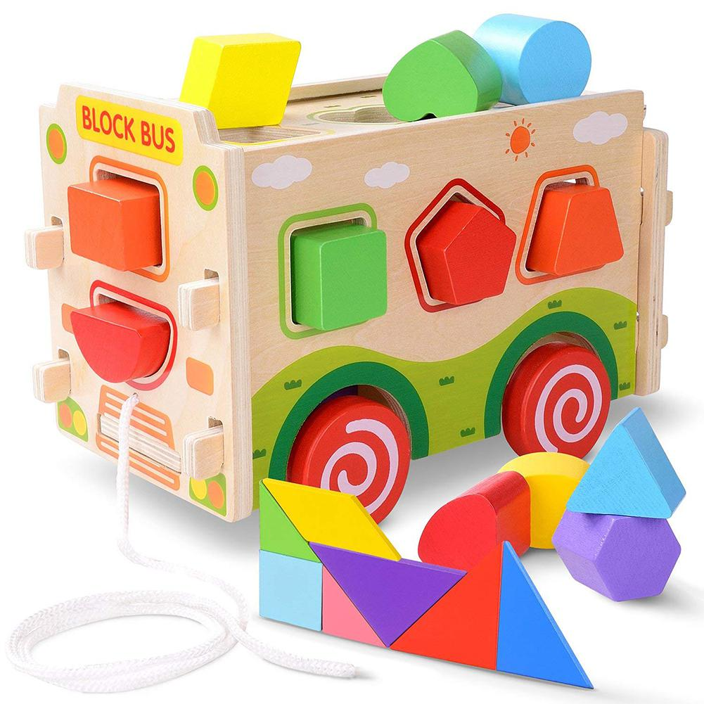RCtown Kids Wooden Assembly Shape Matching Train Toy Building Blocks Educational Toy Teaching Aids