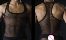 Sexy Men Tank Tops Transparent Mesh Singlet Underwear Gay Exotic Home Lounge Sleep Wear Undershirts Summer Vest