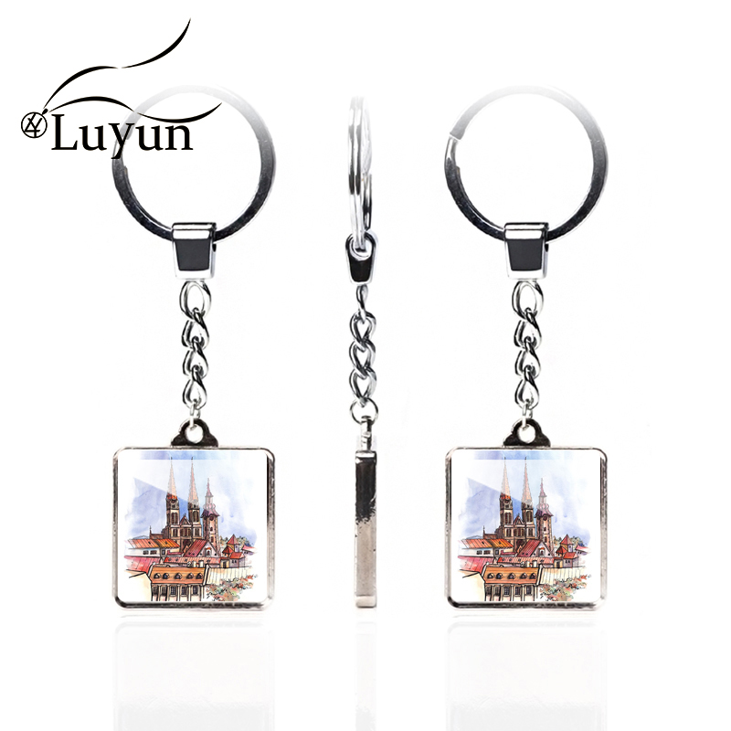 Luyun Ancient Castle Building Pattern Double-sided Keychain Square Crystal Glass Cute Couple wholesale