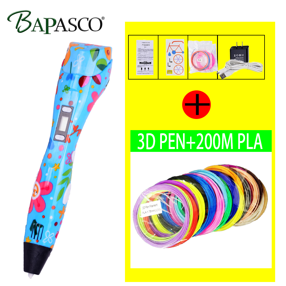 Original 3D Printing Pen 3D Drawing Printer Pen Can ADD 200 Meter PLA Filament Best for Kids Child 3D Painting Birthday Gift new arrival 3d printing pen with 100m 10 color or 200 meter 20 color plastic pla filaments 3 d printer drawing pens for kid gift