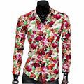Весна осень с длинным рукавом тонкий мода мужская рубашка костюм отдыха печатный рисунок 2016 Новый стиль люксовый бренд рубашки мужчины