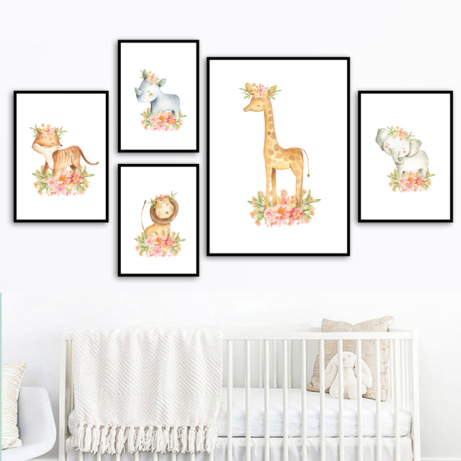 Tiger Lion Elephant Giraffe Zebra Flower Crown Wall Art Canvas Painting Nordic Posters And Prints Wall Pictures Baby Kids Room in Painting Calligraphy from Home Garden