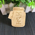 Jar Save The Date Magnet, Rustic Wedding Favor, Engraved Wooden Wedding Decoration, Wood Magnets, Bridal Shower