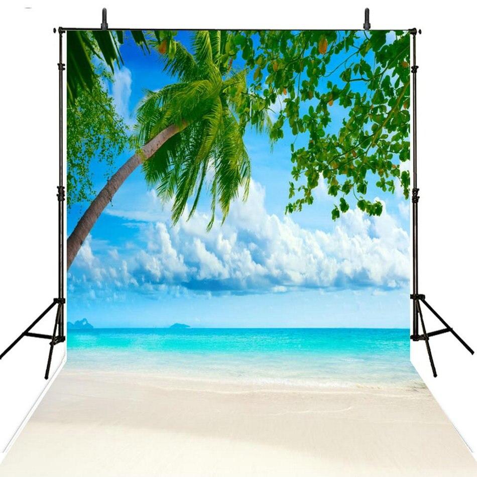 blue sky white clouds Palm tree sea beach ocean Background Vinyl cloth High quality Computer print wall backdrop