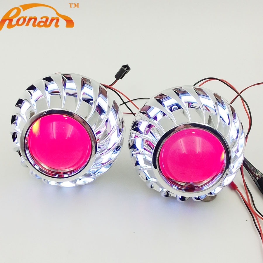 ФОТО 2.5 H1 Bi Xenon Projector lens Headlights with rear LED COB Angel Eyes Devil eyes for H4 H7 Car DRL Running Lamps car style