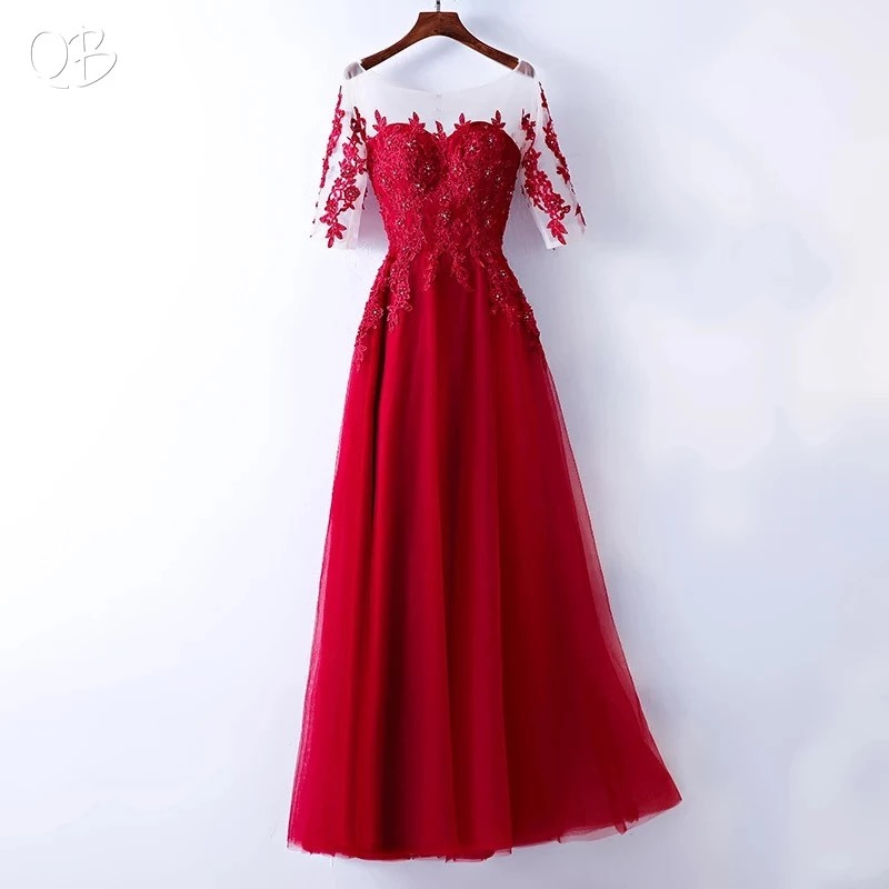 A-line Tulle Lace Crystal Beaded Luxury Evening Dresses 2019 New Long Formal Elegant Party Dress Wine Red Green Blue LS01N