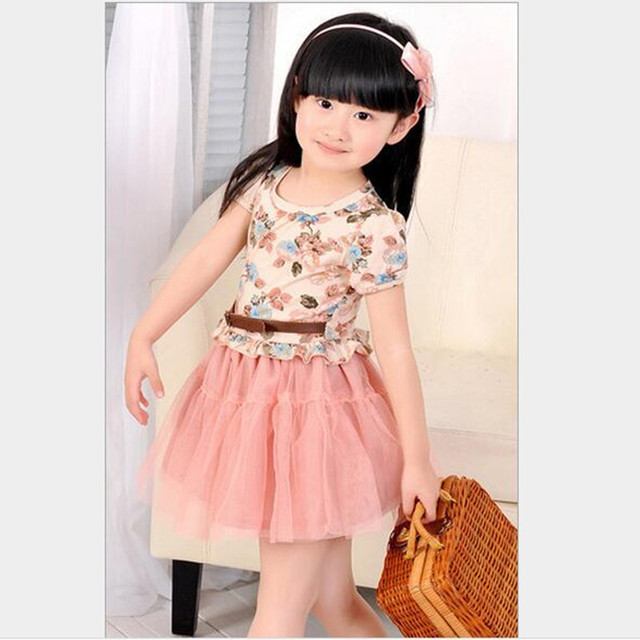 2018 Brand Girls Summer Print Flower Dress Princess Dress Children s Wear  Party Girl Short Sleeve Beautiful School Lovely Dress 87409a952e51