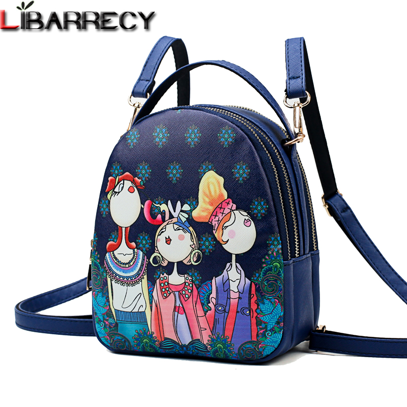 Cute Cartoon Printing Backpack Female Lovely Backpack For Girls Brand Leather Mini Backpacks Simple Shoulder Bag Mochila 2018