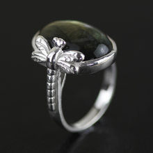 INATURE Natural Rainbow Labradorite Rings for Women Fashion Jewelry 925 Sterling Silver Dragonfly Ring(China)