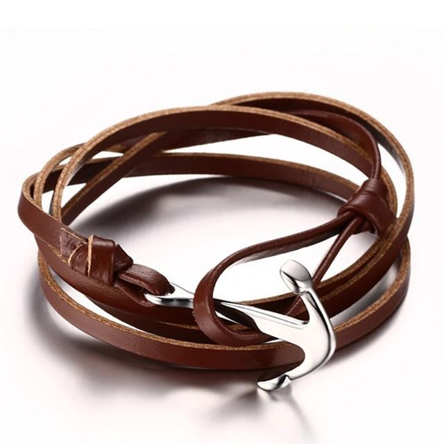 23ed067f540c Pulsera del Ancla de la vendimia Larga Del Encanto de la Cuerda de Cuero  Pulseras de