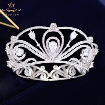 Bavoen Top-end High quality Sparkling Zircon Bridal Tiara Crown Bridal Hairbands Wedding Hair Accessories