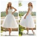 Short Wedding Dress with Lace Cap Sleeve Knee Length High Neck Vestido De Novia White and Ivory Brides Girls Gowns