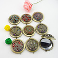 Portable Cute Round Copper Diamond Metal Pocket Mirror