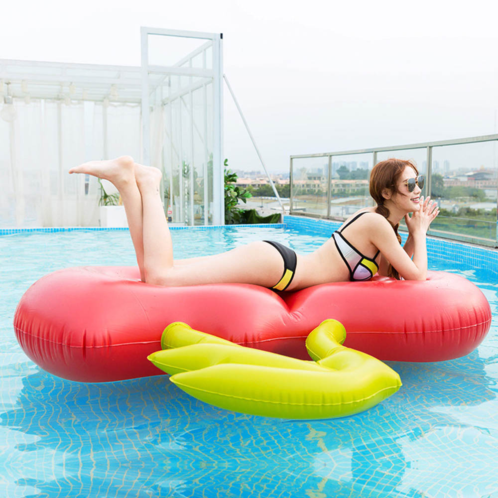 Cherry Shape Inflatable Water Hammock Floating Bed Sofa Lounge Chair Drifter Swimming RingPool Beach Float Row For Everyone