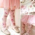 Rosa caliente chicas Floral Leggings Cotton wool Lycra de los niños Pant pantalones para 2-6 años mayor el envío gratis
