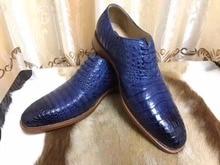 2018 Недавно Роскошные наивысшего качества блестящие натуральной крокодиловой кожи мужские деловые обуви с полной ручной работы цвет синий, черный; Большие размеры 34–43 двойной цвета