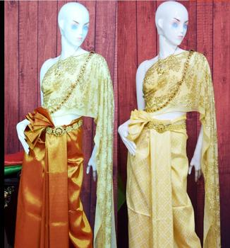 Exquisite luxury Thailand traditional clothing Gold Thailand Receptionist uniforms Thailand dance wear dress фото
