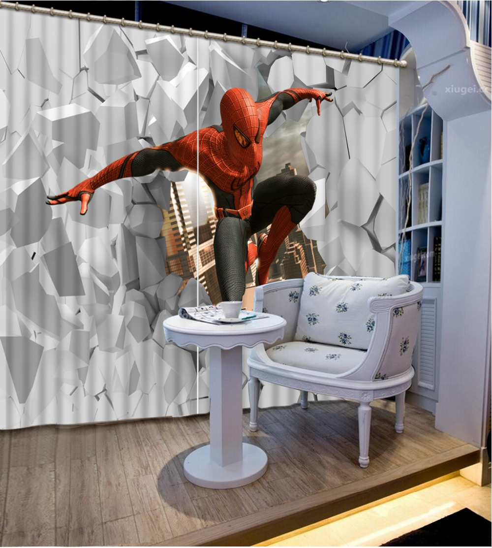 online get cheap spiderman live aliexpress com alibaba group kids curtains spiderman photo painting window curtains for living room bedroom blackout 3d room curtains home decoration