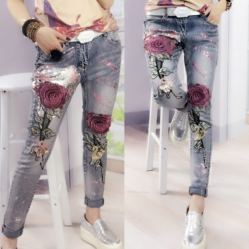 Fashion 3D Flowers Embroidery Women Denim Jeans Flower Skinny Jeans Pencil Pants With Embroidered Flares Lady Ripped Trousers women lady destroyed ripped jeans distressed hole denim flower pants boyfriend jeans trousers new