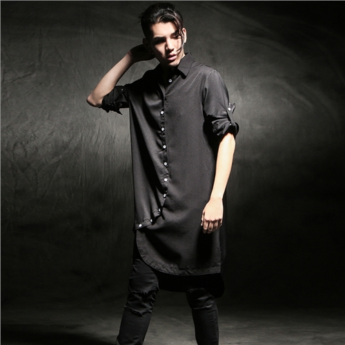 M-6XL!!! 2018 mens clothing asymmetrical front fly ultra long shirt male loose long-sleeve shirt male outerwear
