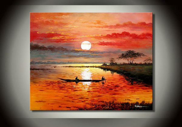 Abstract Family Art African lake sunset landscape, the