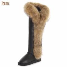 купить INOE boots women fashion over-the-knee boots winter thigh high long shoes fox fur cow split leather waterproof boots по цене 8044.26 рублей