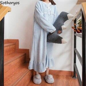 Image 5 - Ночные рубашки женские длинные Kawaii корейский стиль свободные толстые теплые мягкие однотонные кружевные повседневные студенческие пижамы повседневные женские ночные рубашки