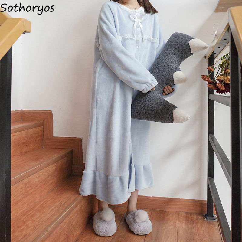 Image 5 - Nightgowns Women Long Kawaii Korean Style Loose Thicker Warm Soft Solid Lace Daily Student Sleepwear Casual Womens Sleepshirts-in Nightgowns & Sleepshirts from Underwear & Sleepwears
