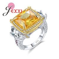 JEXXI 2017 Trendy 925 Sterling Silver Luxury Yellow Stone Zircon Love Lady Ring Women S Valentine