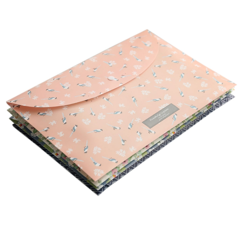1 Set Durable Folder Snap Floral File Bag Paper A4 School Stationery Office Supplies High Quality New