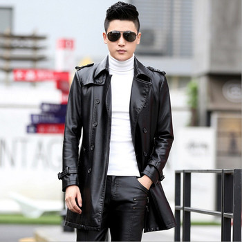 Brand Men Leather Jacket Coat Fashion Turn-down Collar Slim Plus Size Double Breasted High Quality Pu Leather Outwear M-5XL
