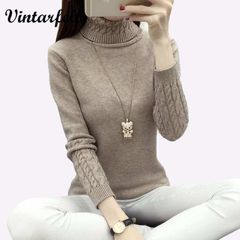 Thickening Warm Knitting Sweaters And Pullovers For Women 2016 Autumn Winter Casual Slim Elastic Turtleneck Knitwear