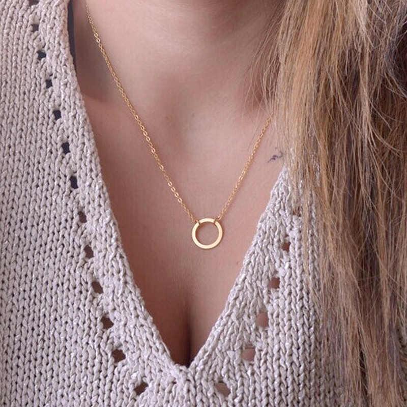 Gorące koło wisiorki naszyjnik srebrne złoto dla kobiet Dainty Forever koło wyróżniający się naszyjnik naszyjnik moda biżuteria Choker