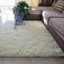 Утолщенный моющийся Шелковый нескользящий ковер журнальный столик для гостиной одеяло прикроватный коврик для спальни коврики для йоги однотонный плюшевый ковер