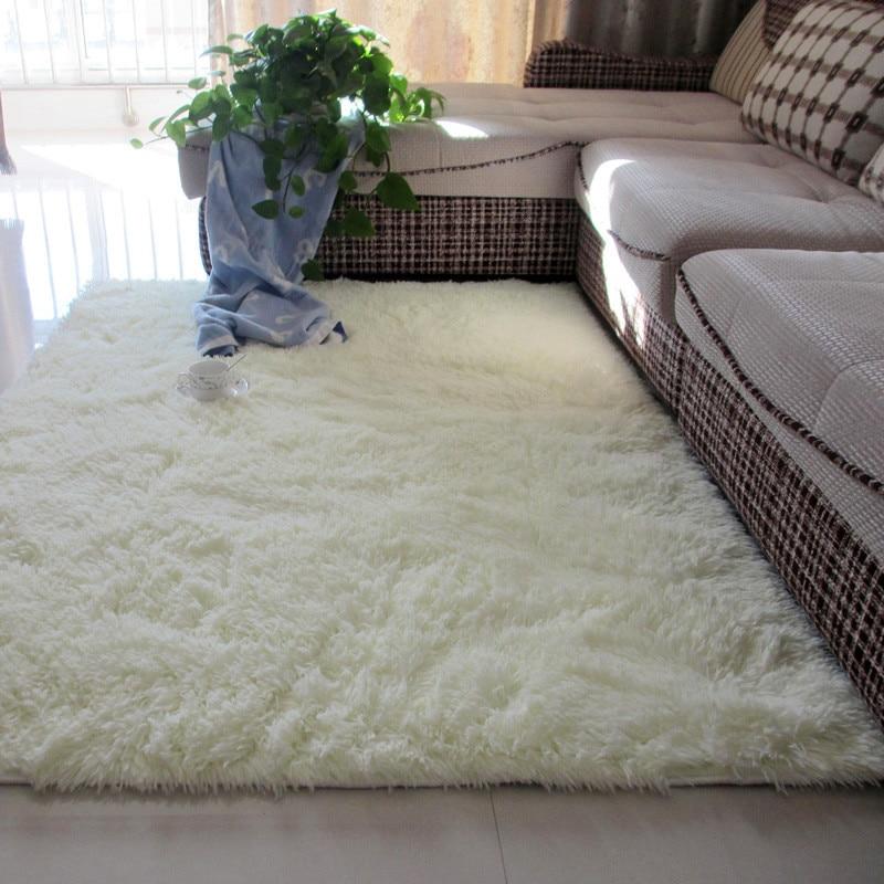 Tapete de cabelo de seda antiderrapante, tapete grosso lavado para sala de estar, café, cabeceira, quarto, tapete de yoga tapete de pelúcia