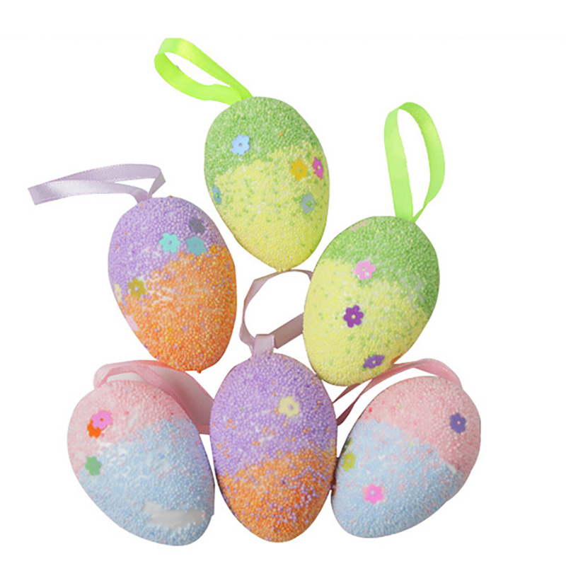 NUOBESTY 12pcs Colorful Glitter Easter Egg Ornaments Foam Egg Tree Hanging Ornaments For Easter Party Decoration
