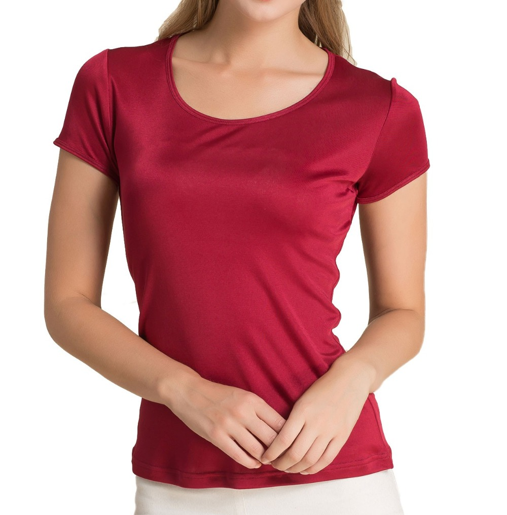 Special Offer 100% Pure Silk Knitted Womens Casual Round Neck Short Sleeve Tee Size L XL XXL XXXL