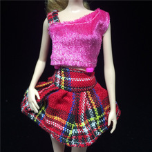 1 X Handmade Jeans Wear Set Short Skirt Knitted Dress Casual clothes For 11 Barbies Doll