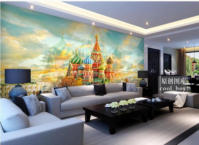 3d wallpaper custom mural non-woven wall sticker Retro classic TV setting wall church castle  murals stereograph
