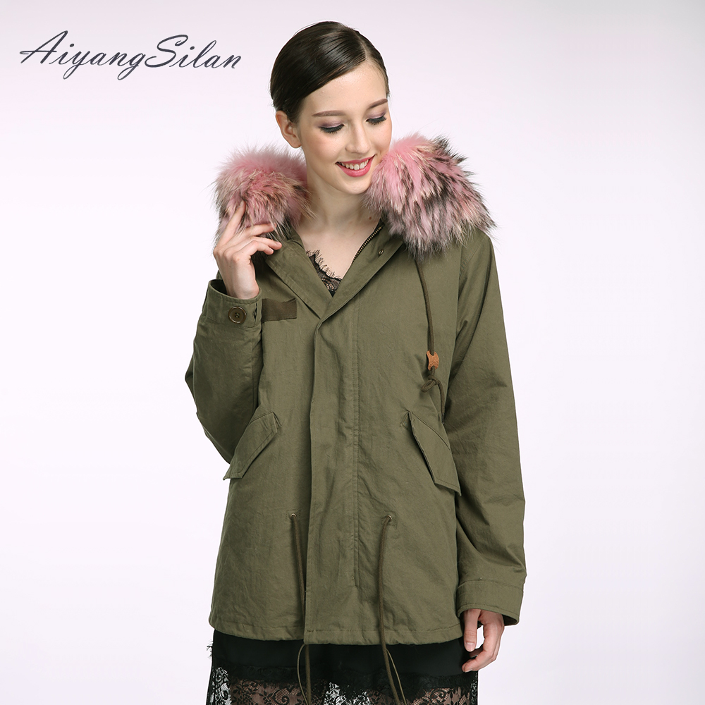 AiyangSilan Real Fox Fur Liner Parka Natural Raccoon Fur Collar Hood Jacket Women Fur Coat for Winter Girls Army green outwear new 2017 jott jacket winter women parka long coat large real raccoon fur collar faux rabbit fur liner army green casual outwear