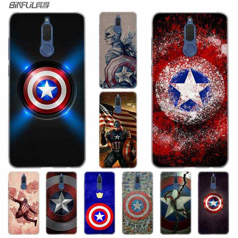 BINFUL Fashion Transparent hard phone case cover for Huawei Mate 7 8 9 S 10 20 Pro Lite X Marvel Hero Captain America