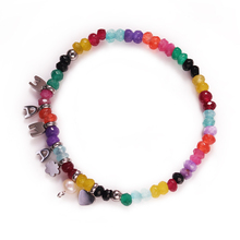 YNB  Nature Agate Beads Bracelets for Women, MaMa Charm Elasticity Bracelet, Colorful Nature Stone Bracelets Handmade Jewelry