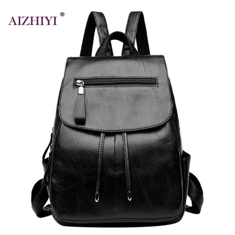 Women Casual Pu Leather Schoolbag Black Big Capacity Backpack High Quality Shoulder School Bookbag Girl Zipper Travel Backpack