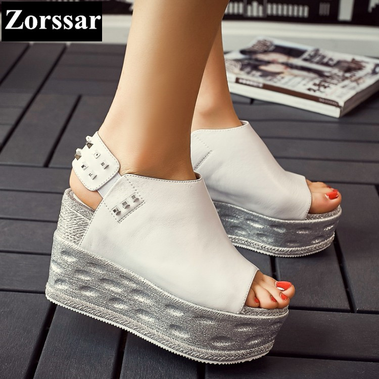 {Zorssar} Brand Fashion Genuine leather Summer Womens shoes lady high heels platform wedges sandals women creeper shoes TBD-241 woman fashion high heels sandals women genuine leather buckle summer shoes brand new wedges casual platform sandal gold silver
