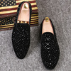 Top Quality Man Slip On Loafers Shoes Fashion Popular Male Hairdresser Lazy Shoes Rhinestones Pointed Toe